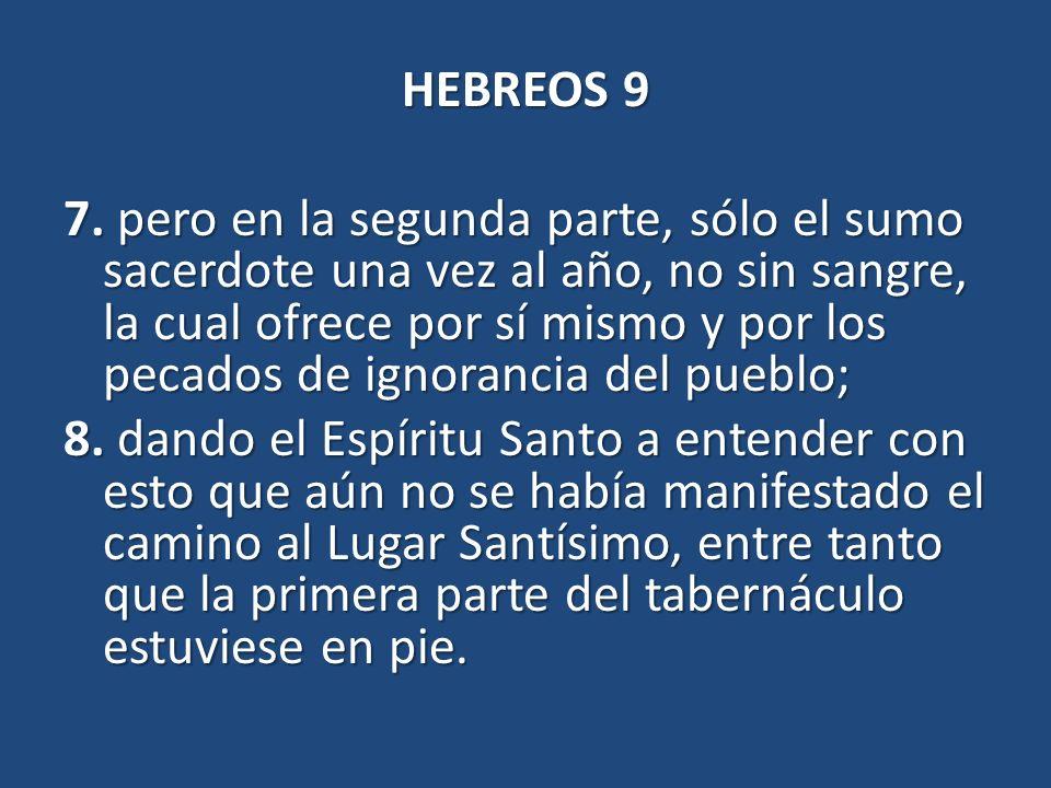HEBREOS 9 7. pero en la segunda parte, sólo el sumo sacerdote una vez al año, no sin sangre, la cual ofrece por sí mismo y por los pecados de ignoranc