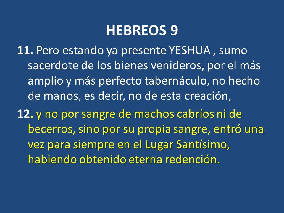 HEBREOS 9 11. Pero estando ya presente YESHUA, sumo sacerdote de los bienes venideros, por el más amplio y más perfecto tabernáculo, no hecho de manos