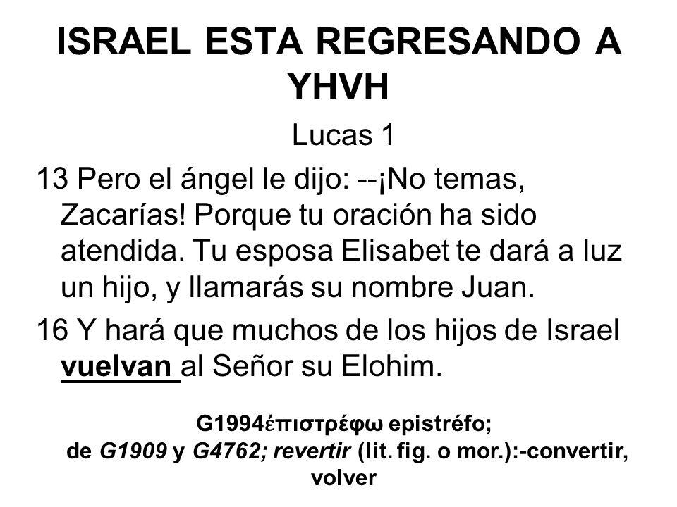 ISRAEL ESTA REGRESANDO A YHVH Lucas 1 13 Pero el ángel le dijo: --¡No temas, Zacarías! Porque tu oración ha sido atendida. Tu esposa Elisabet te dará