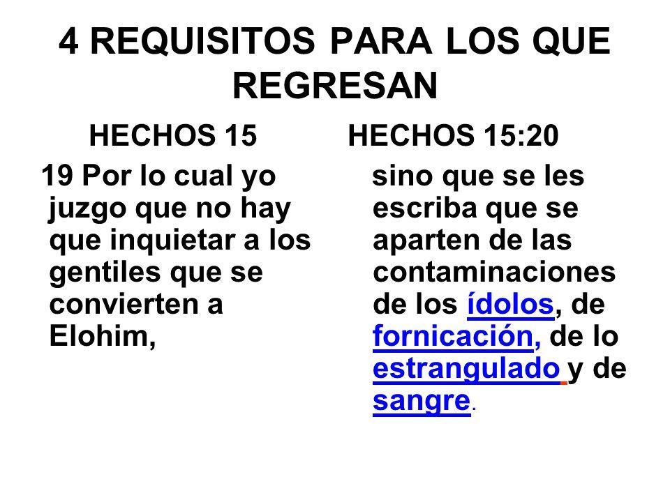 4 REQUISITOS PARA LOS QUE REGRESAN HECHOS 15 19 Por lo cual yo juzgo que no hay que inquietar a los gentiles que se convierten a Elohim, HECHOS 15:20