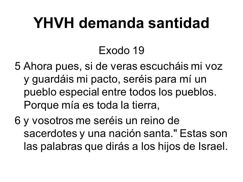 YHVH demanda santidad Exodo 19 5 Ahora pues, si de veras escucháis mi voz y guardáis mi pacto, seréis para mí un pueblo especial entre todos los puebl