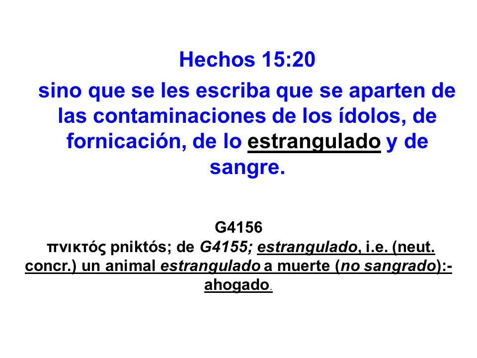 Hechos 15:20 sino que se les escriba que se aparten de las contaminaciones de los ídolos, de fornicación, de lo estrangulado y de sangre. G4156 πνικτό