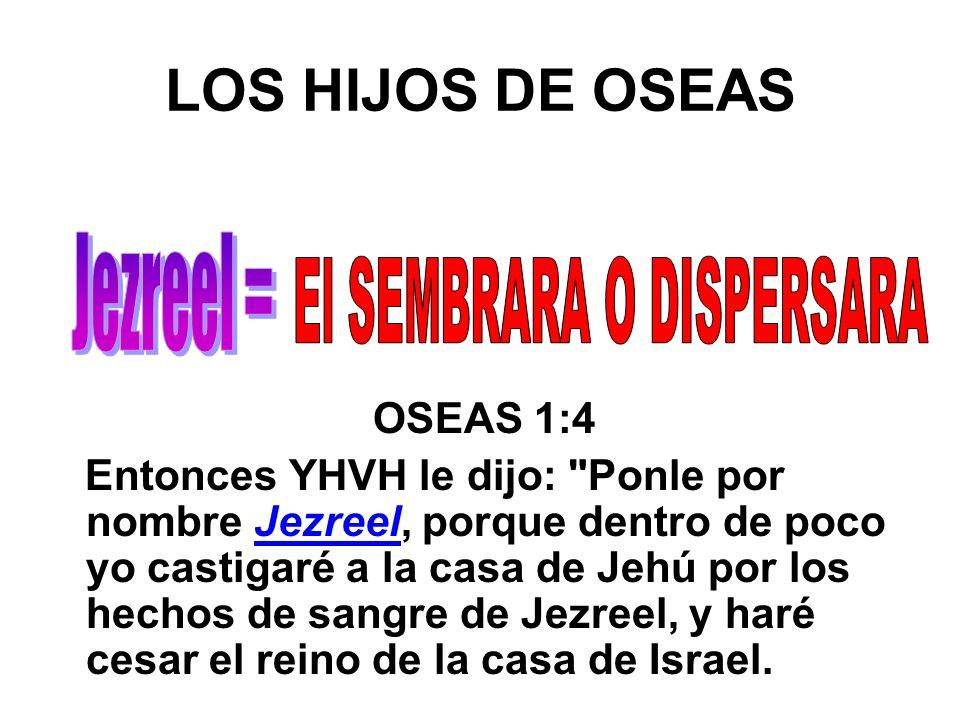 LOS HIJOS DE OSEAS OSEAS 1:4 Entonces YHVH le dijo: