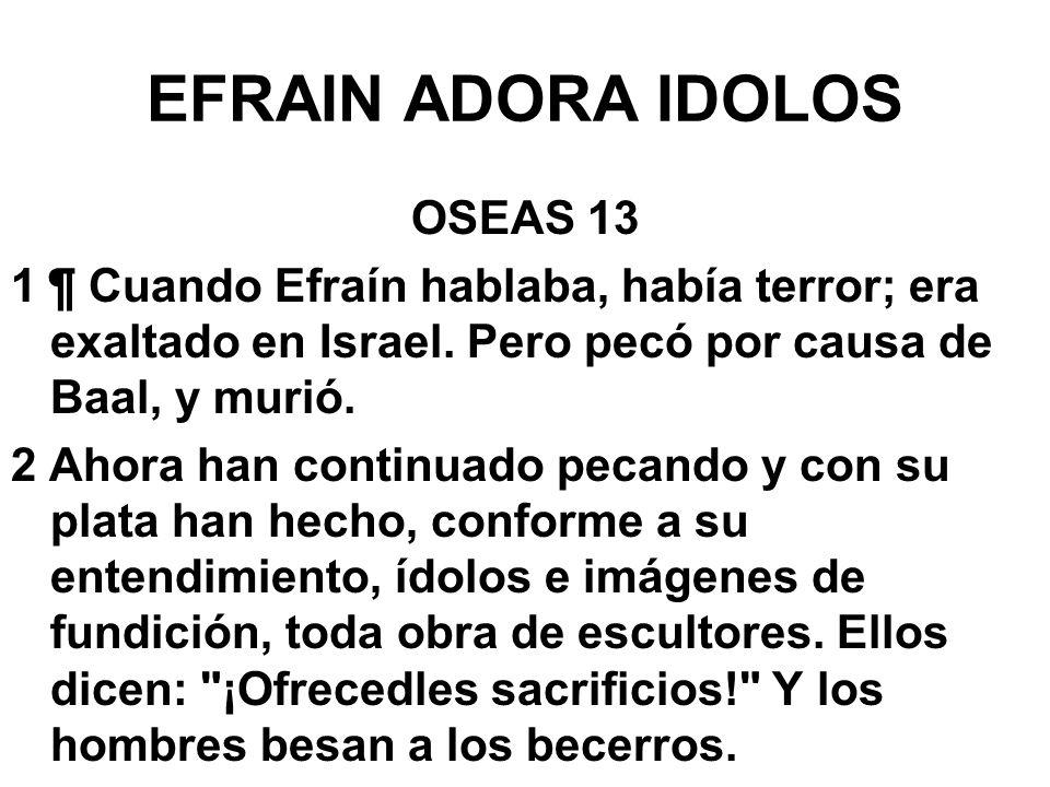 EFRAIN ADORA IDOLOS OSEAS 13 1 ¶ Cuando Efraín hablaba, había terror; era exaltado en Israel. Pero pecó por causa de Baal, y murió. 2 Ahora han contin