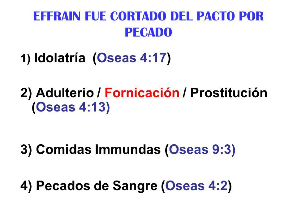 EFFRAIN FUE CORTADO DEL PACTO POR PECADO 1) Idolatría (Oseas 4:17) 2) Adulterio / Fornicación / Prostitución (Oseas 4:13) 3) Comidas Immundas (Oseas 9