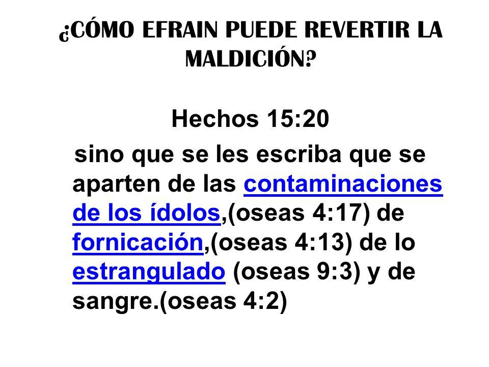 ¿CÓMO EFRAIN PUEDE REVERTIR LA MALDICIÓN? Hechos 15:20 sino que se les escriba que se aparten de las contaminaciones de los ídolos,(oseas 4:17) de for