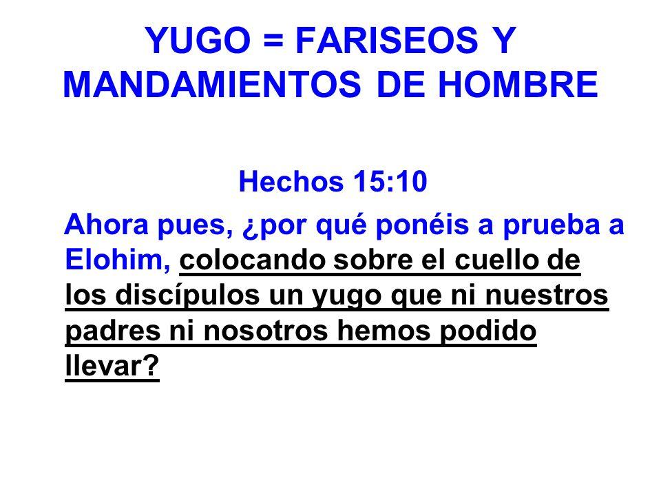 YUGO = FARISEOS Y MANDAMIENTOS DE HOMBRE Hechos 15:10 Ahora pues, ¿por qué ponéis a prueba a Elohim, colocando sobre el cuello de los discípulos un yu