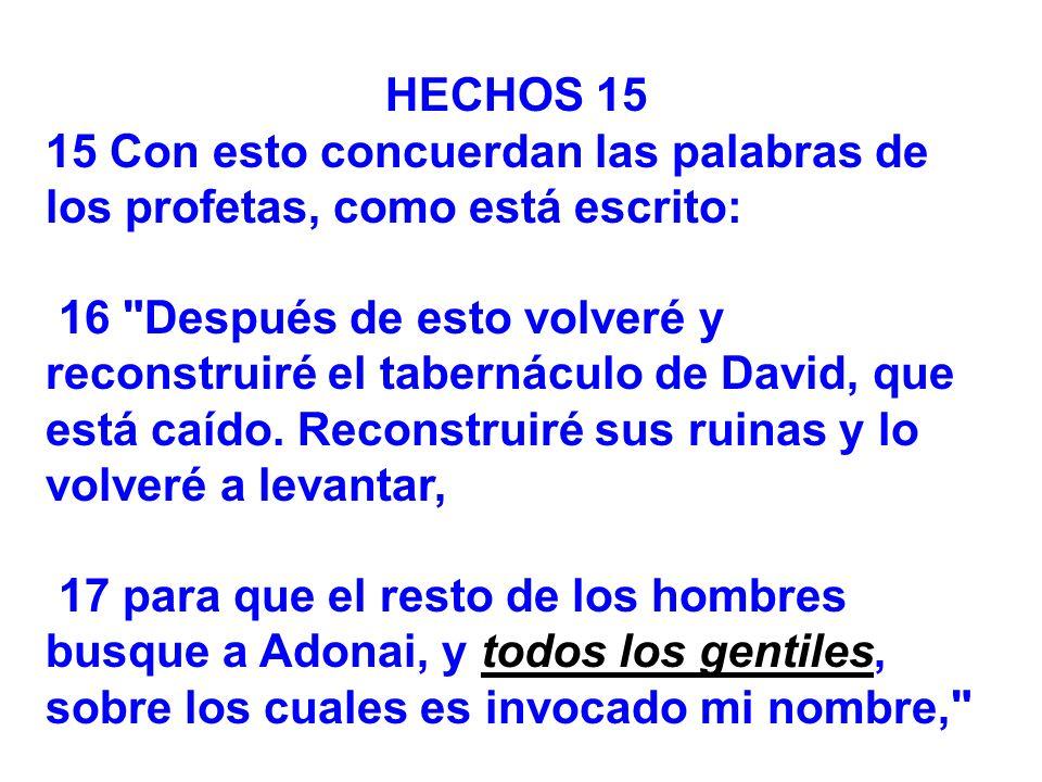 HECHOS 15 15 Con esto concuerdan las palabras de los profetas, como está escrito: 16