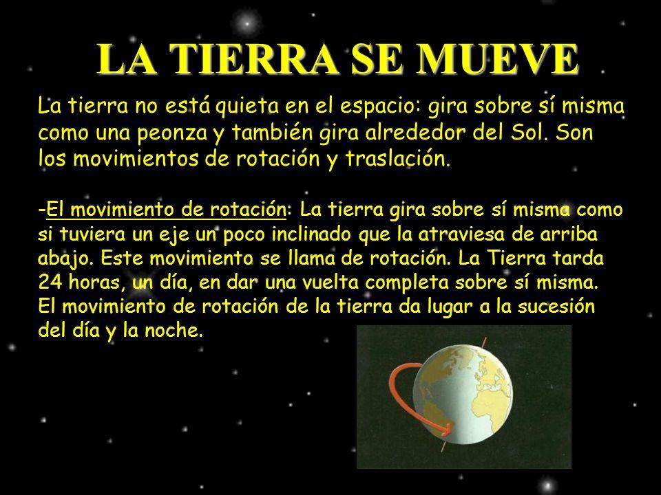 LA TIERRA SE MUEVE La tierra no está quieta en el espacio: gira sobre sí misma como una peonza y también gira alrededor del Sol. Son los movimientos d