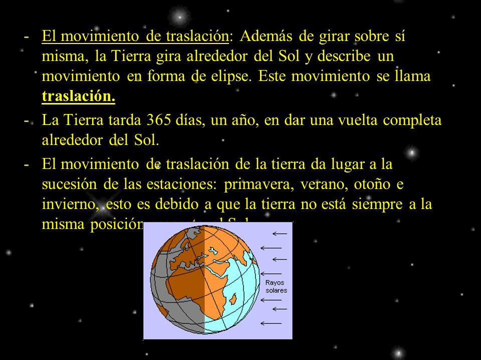 -El movimiento de traslación: Además de girar sobre sí misma, la Tierra gira alrededor del Sol y describe un movimiento en forma de elipse. Este movim