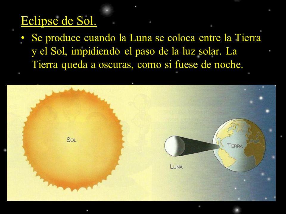 Eclipse de Sol. Se produce cuando la Luna se coloca entre la Tierra y el Sol, impidiendo el paso de la luz solar. La Tierra queda a oscuras, como si f