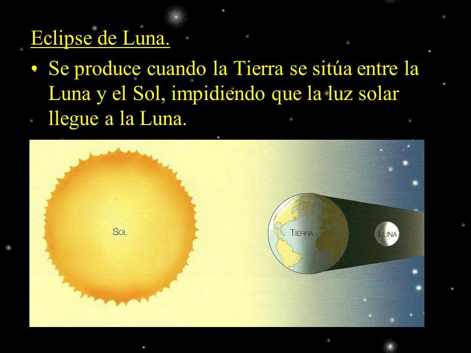 Eclipse de Luna. Se produce cuando la Tierra se sitúa entre la Luna y el Sol, impidiendo que la luz solar llegue a la Luna.
