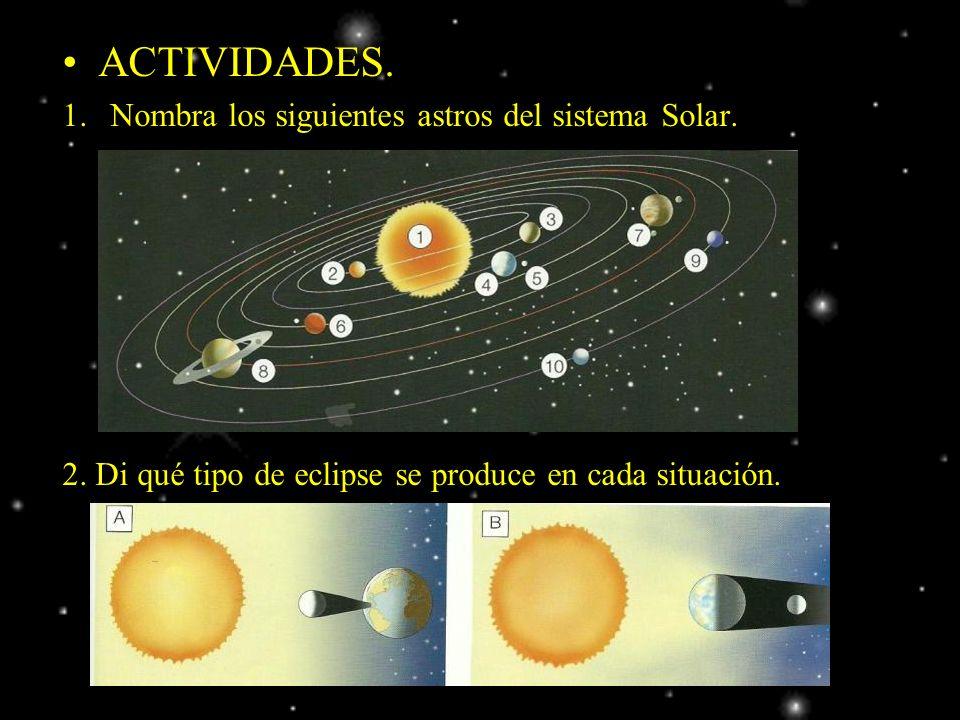 ACTIVIDADES. 1.Nombra los siguientes astros del sistema Solar. 2. Di qué tipo de eclipse se produce en cada situación.