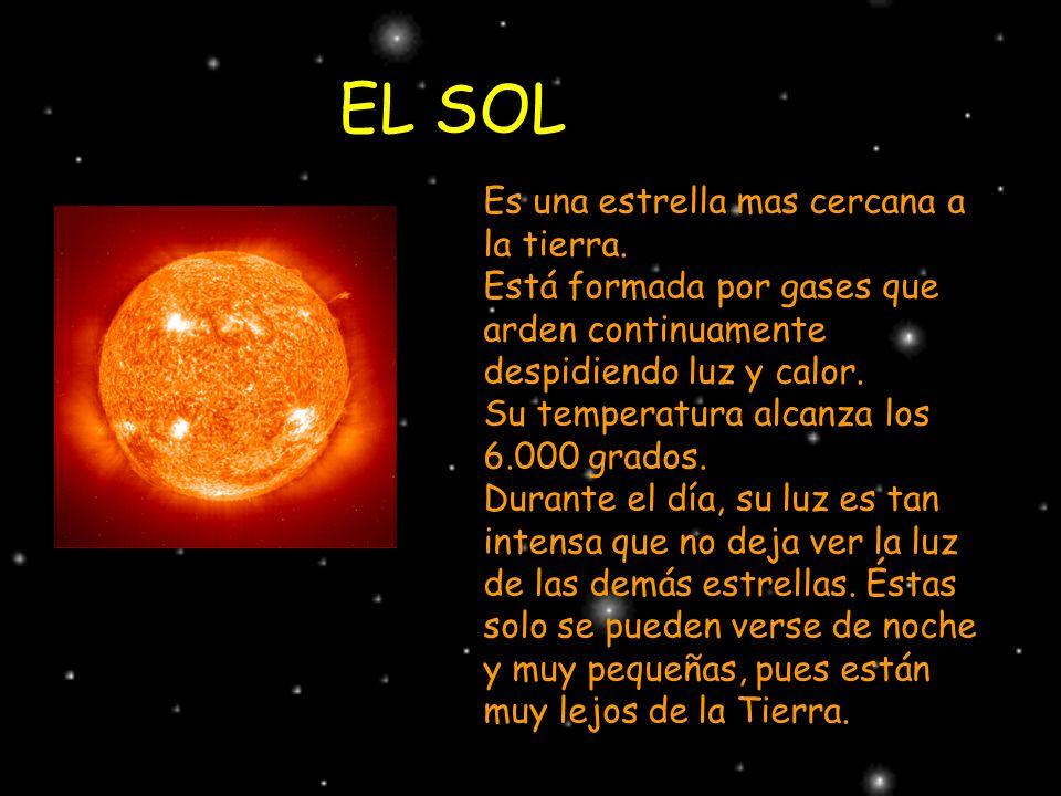 EL SOL Es una estrella mas cercana a la tierra. Está formada por gases que arden continuamente despidiendo luz y calor. Su temperatura alcanza los 6.0
