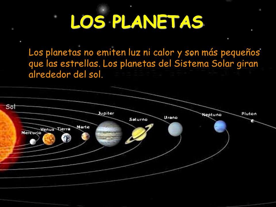 LOS PLANETAS Los planetas no emiten luz ni calor y son más pequeños que las estrellas. Los planetas del Sistema Solar giran alrededor del sol.