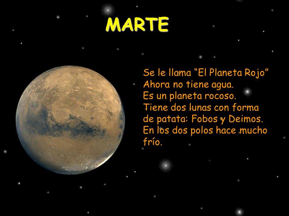 MARTE Se le llama El Planeta Rojo Ahora no tiene agua. Es un planeta rocoso. Tiene dos lunas con forma de patata: Fobos y Deimos. En los dos polos hac
