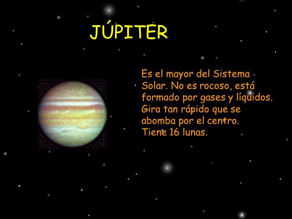 JÚPITER Es el mayor del Sistema Solar. No es rocoso, está formado por gases y líquidos. Gira tan rápido que se abomba por el centro. Tiene 16 lunas.