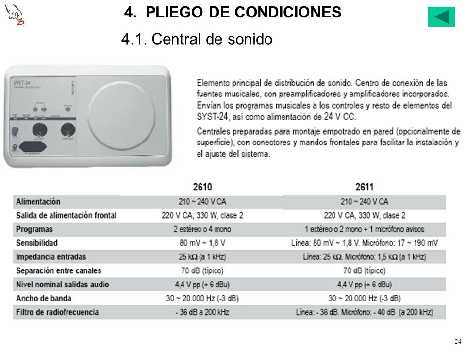23 3.4. Cálculo de conductores. Alimentación de los mandos de audio. Alimentación a 24 V c.c. Consumo total, según lo indicado en la diapositiva nº 26