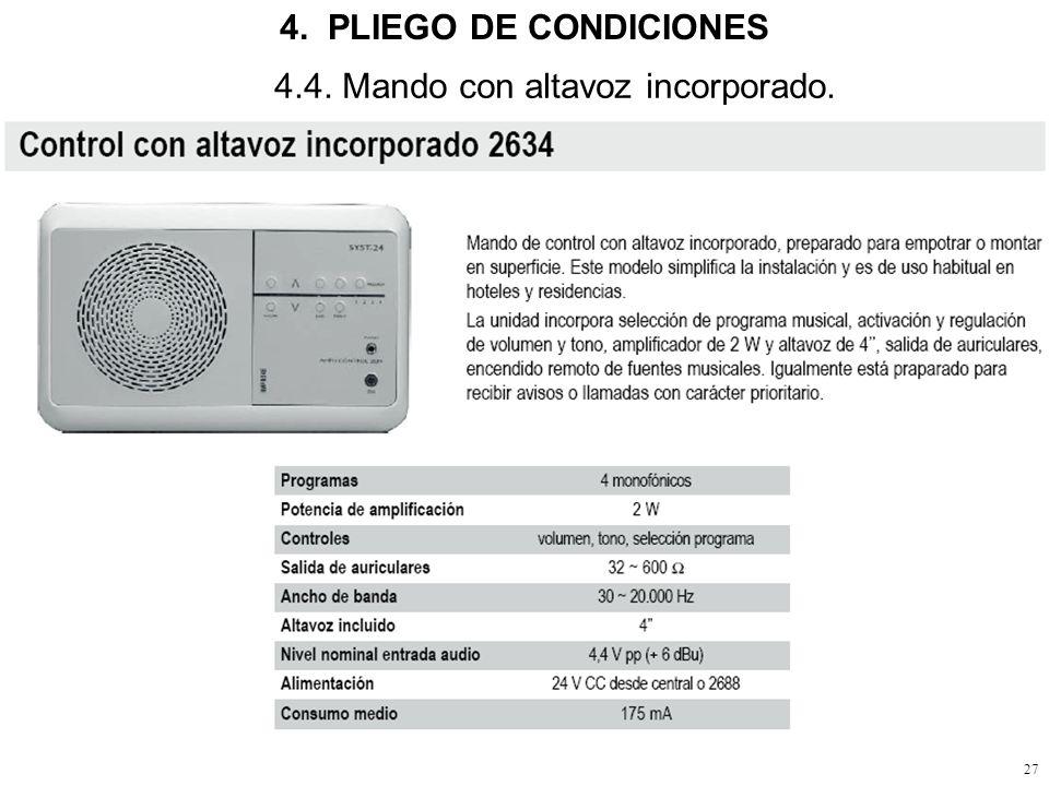 26 4.3. Altavoces, activos y pasivos. 4. PLIEGO DE CONDICIONES