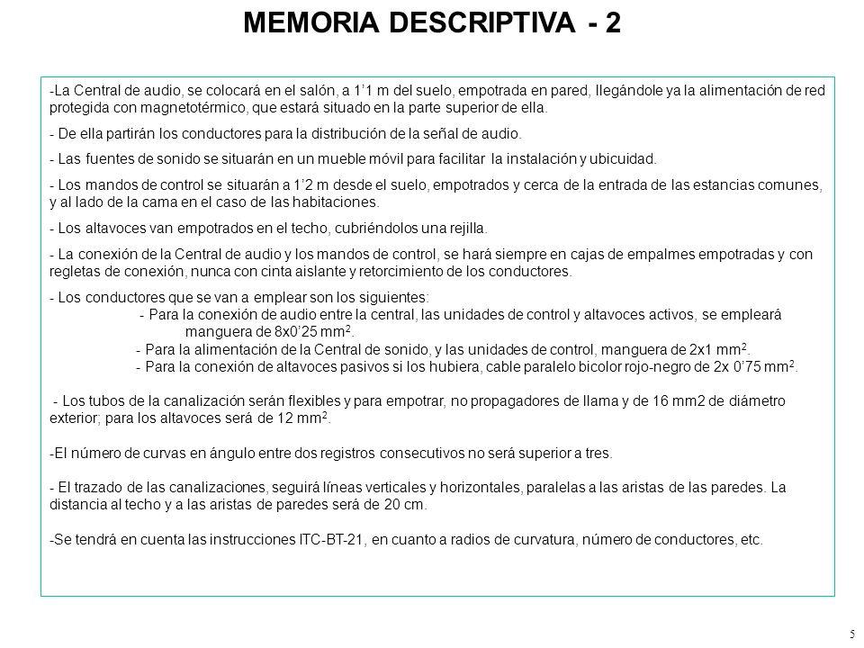 4 MEMORIA DESCRIPTIVA - 1 MEMORIA DESCRIPTIVA. 1.1- Objetivo del proyecto. El objeto del siguiente proyecto comprende la instalación de sonido ambient
