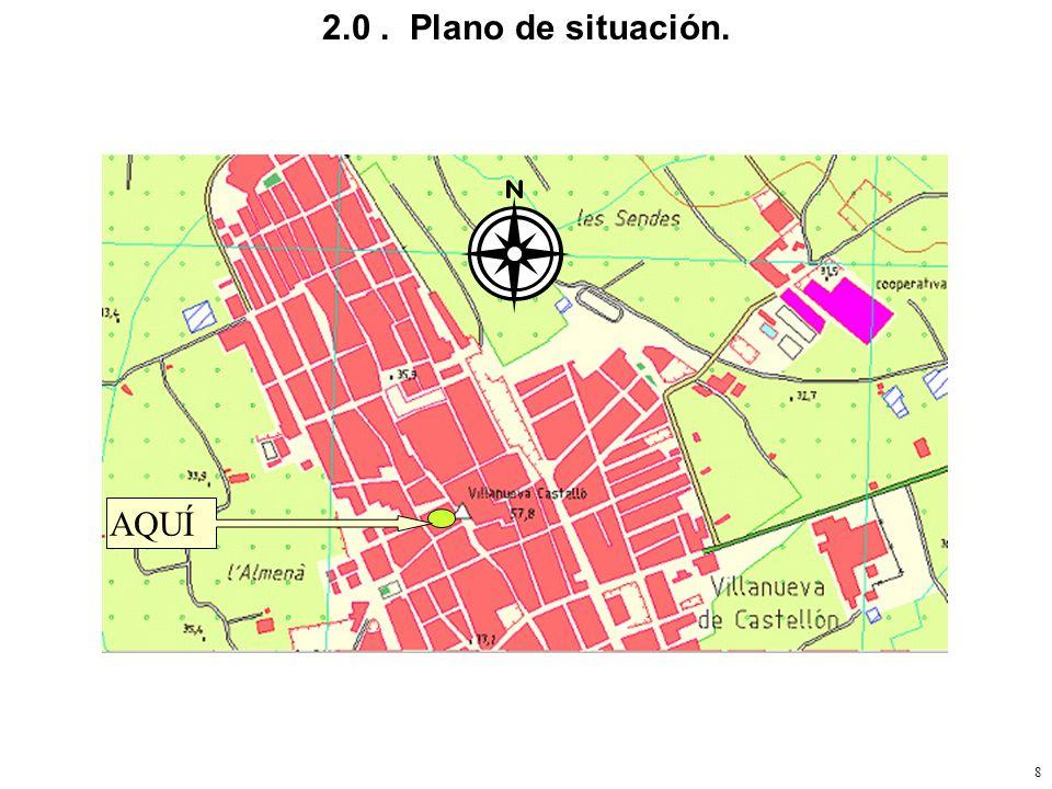 7 2.0. Plano de situación. 2.1. Plano de la planta de la vivienda 2.2. Simbología de elementos de sonido. 2.3. Con elementos de la instalación. 2.4. C