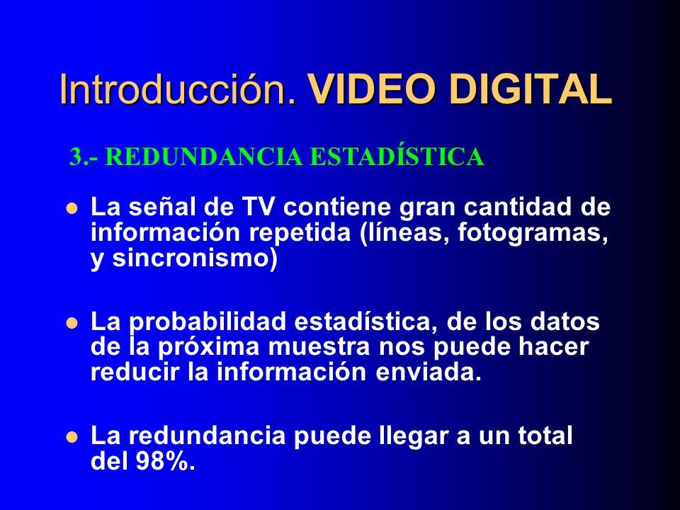 Introducción. VIDEO DIGITAL La señal de TV contiene gran cantidad de información repetida (líneas, fotogramas, y sincronismo) La probabilidad estadíst