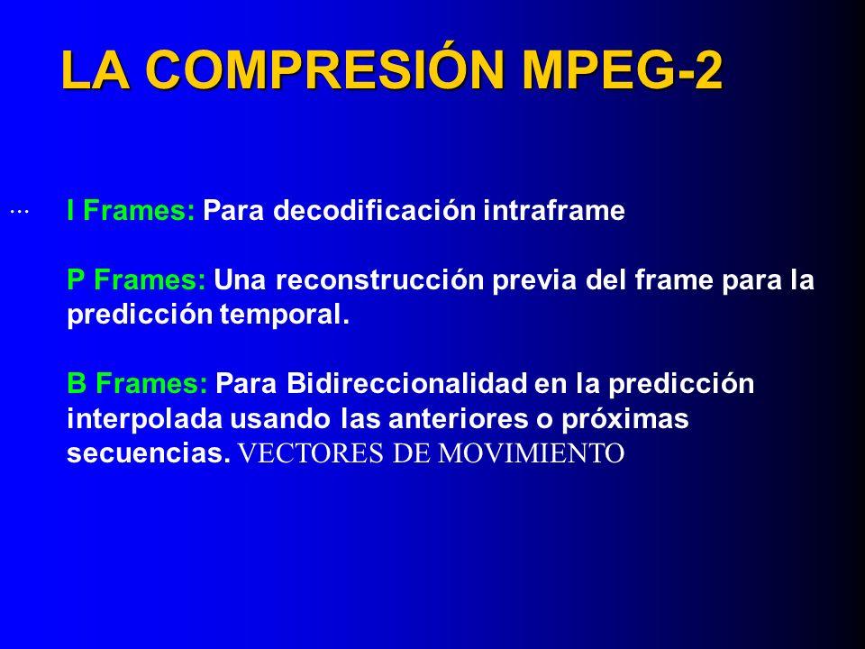 LA COMPRESIÓN MPEG-2 I Frames: Para decodificación intraframe P Frames: Una reconstrucción previa del frame para la predicción temporal. B Frames: Par