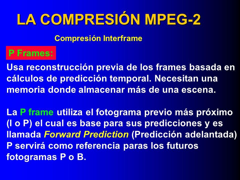 LA COMPRESIÓN MPEG-2 Compresión Interframe Usa reconstrucción previa de los frames basada en cálculos de predicción temporal. Necesitan una memoria do