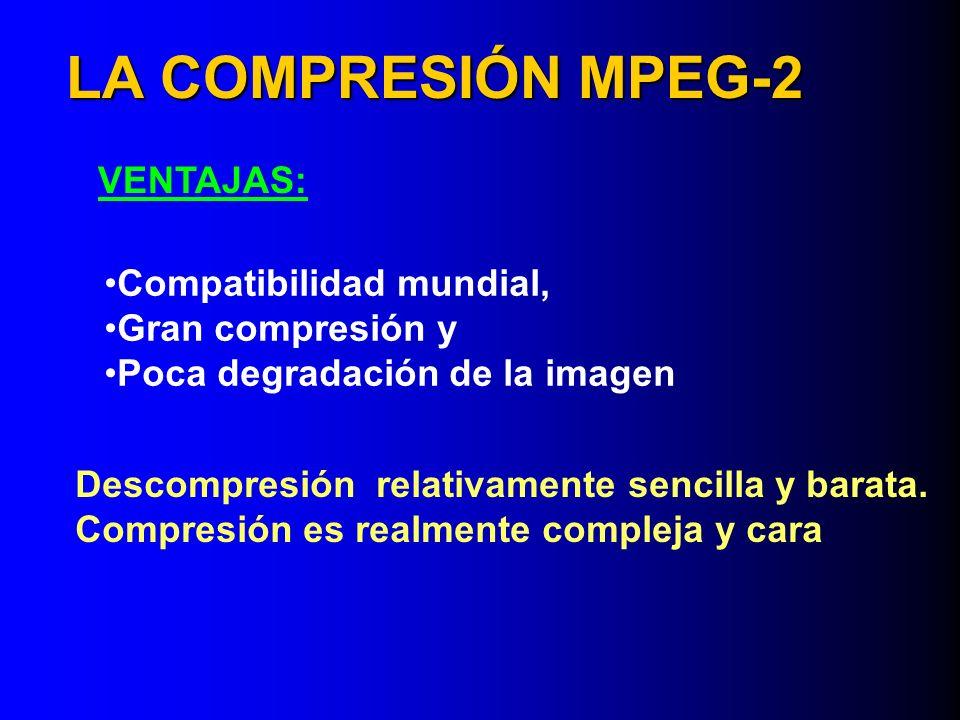 LA COMPRESIÓN MPEG-2 VENTAJAS: Compatibilidad mundial, Gran compresión y Poca degradación de la imagen Descompresión relativamente sencilla y barata.