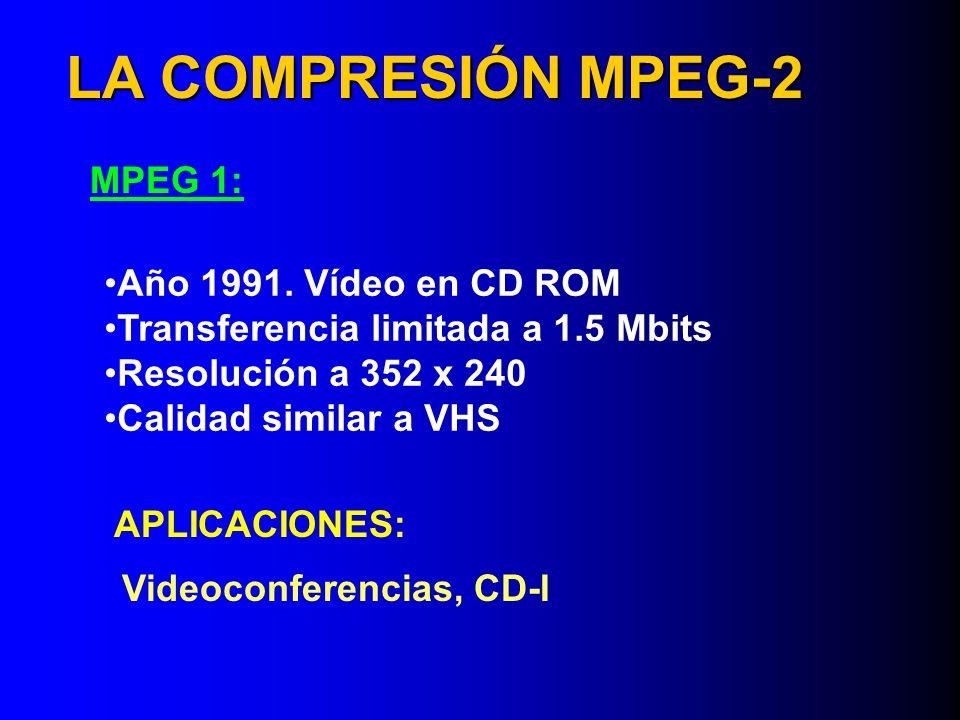 LA COMPRESIÓN MPEG-2 MPEG 1: Año 1991. Vídeo en CD ROM Transferencia limitada a 1.5 Mbits Resolución a 352 x 240 Calidad similar a VHS Videoconferenci