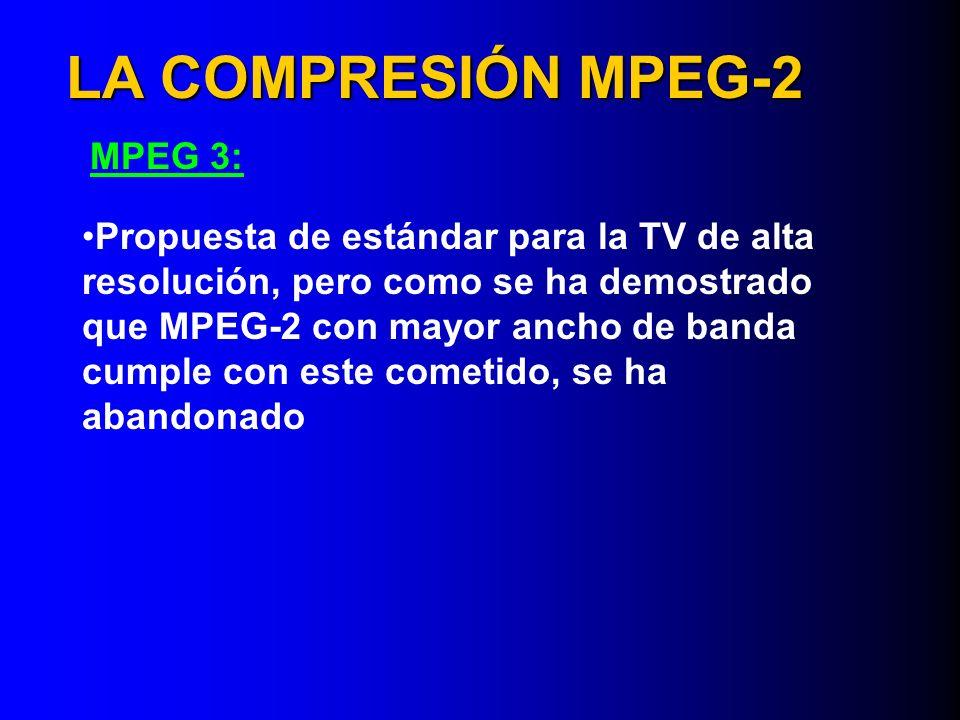 LA COMPRESIÓN MPEG-2 MPEG 3: Propuesta de estándar para la TV de alta resolución, pero como se ha demostrado que MPEG-2 con mayor ancho de banda cumpl
