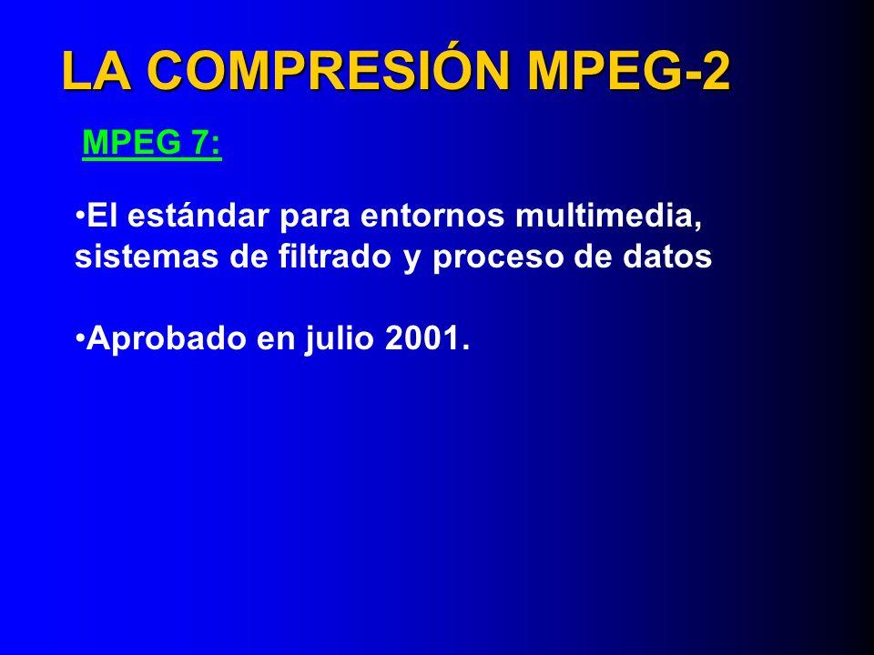 LA COMPRESIÓN MPEG-2 MPEG 7: El estándar para entornos multimedia, sistemas de filtrado y proceso de datos Aprobado en julio 2001.