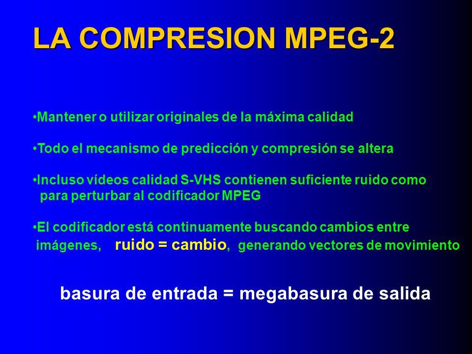 Mantener o utilizar originales de la máxima calidad Todo el mecanismo de predicción y compresión se altera Incluso vídeos calidad S-VHS contienen sufi