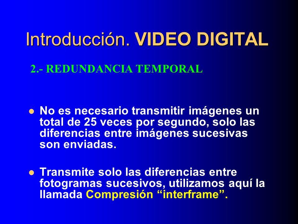 Introducción. VIDEO DIGITAL No es necesario transmitir imágenes un total de 25 veces por segundo, solo las diferencias entre imágenes sucesivas son en