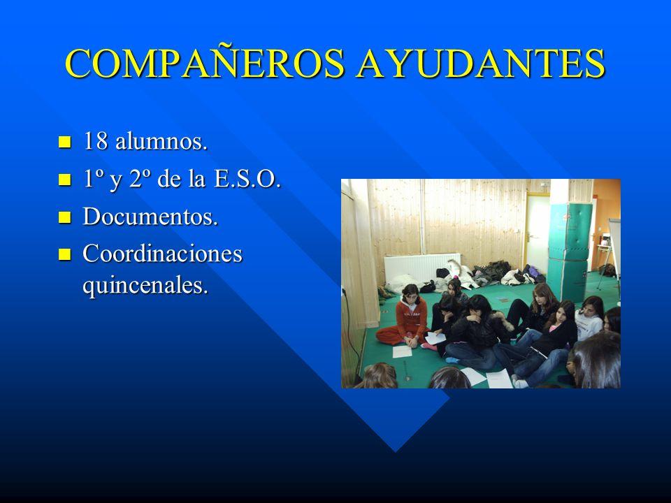 COMPAÑEROS AYUDANTES 18 alumnos. 18 alumnos. 1º y 2º de la E.S.O. 1º y 2º de la E.S.O. Documentos. Documentos. Coordinaciones quincenales. Coordinacio