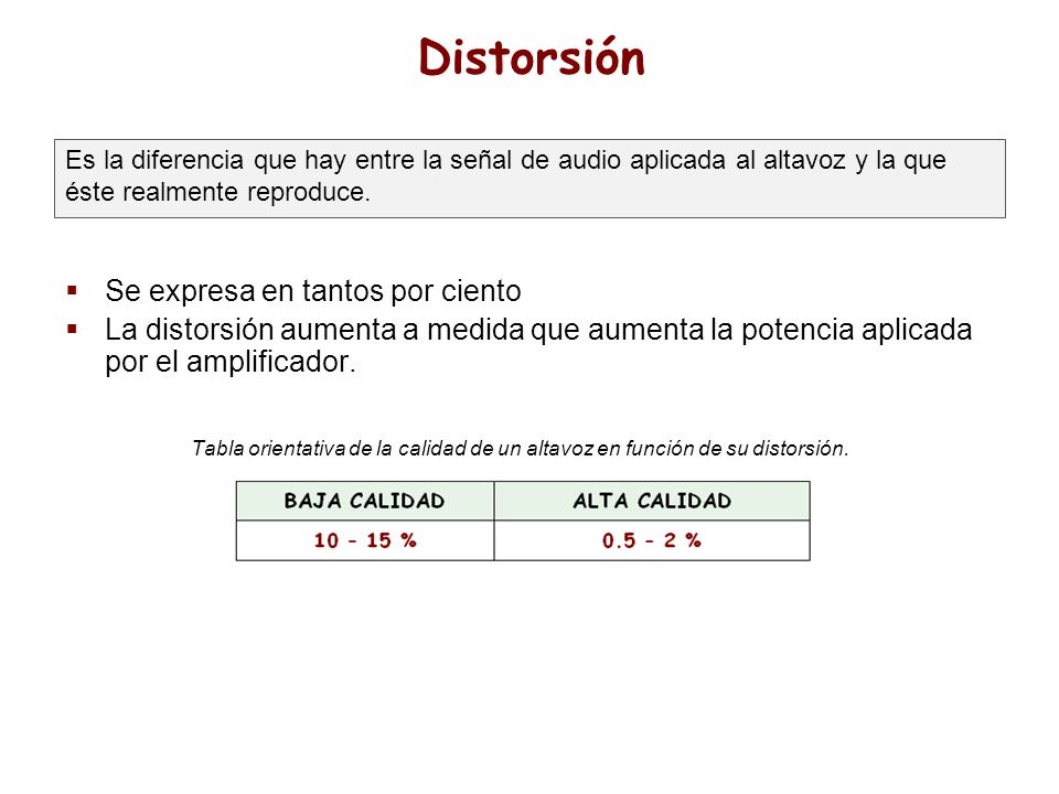 Distorsión Se expresa en tantos por ciento La distorsión aumenta a medida que aumenta la potencia aplicada por el amplificador. Tabla orientativa de l