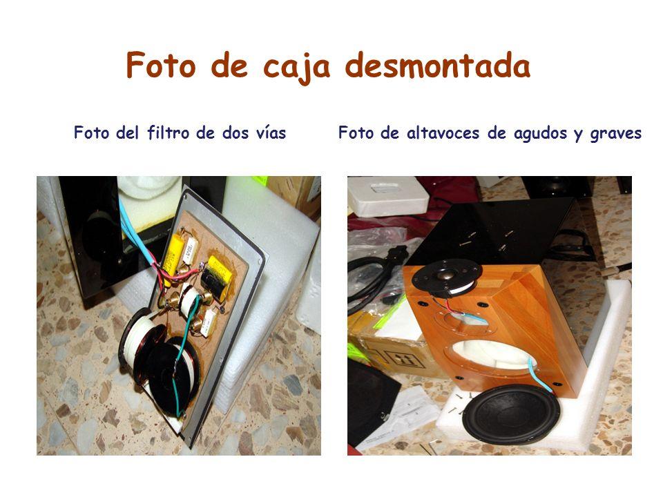 Foto de caja desmontada Foto del filtro de dos víasFoto de altavoces de agudos y graves
