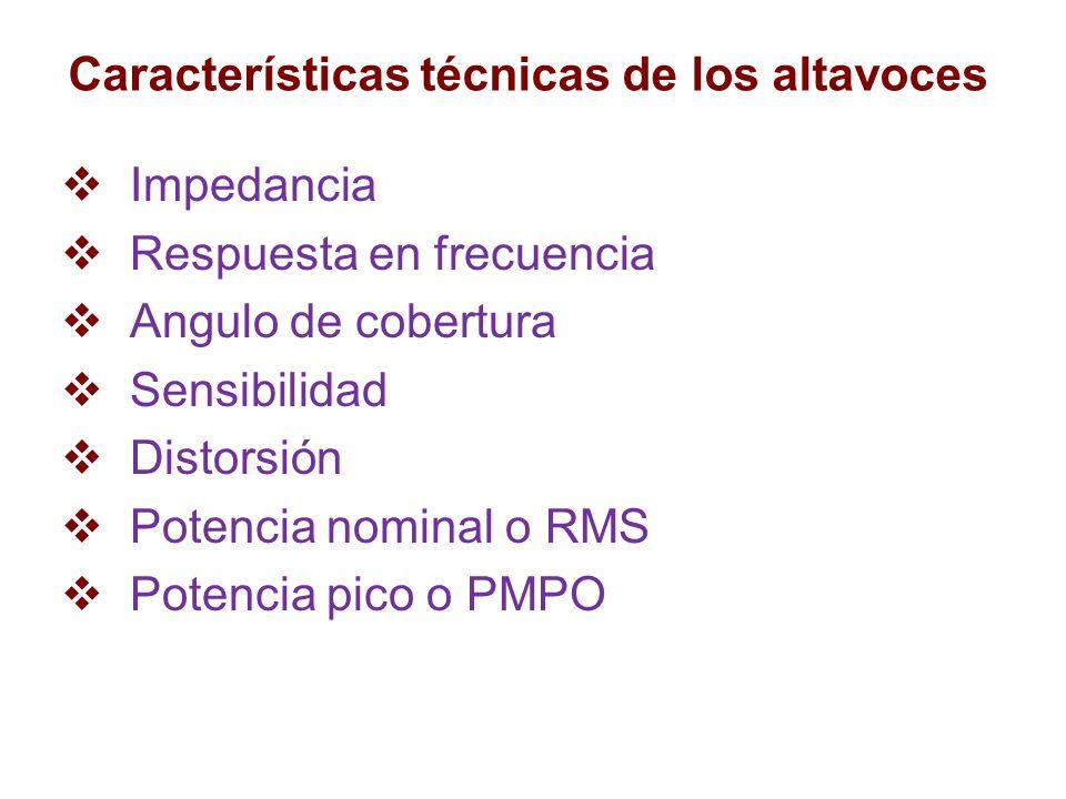 Características técnicas de los altavoces Impedancia Respuesta en frecuencia Angulo de cobertura Sensibilidad Distorsión Potencia nominal o RMS Potenc
