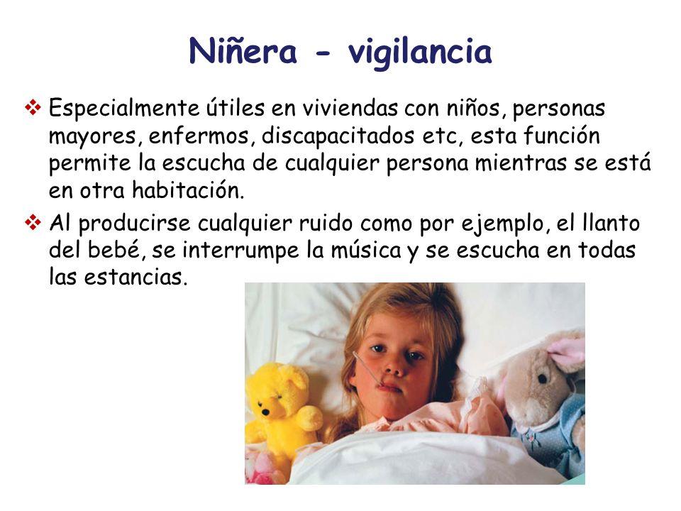 Niñera - vigilancia Especialmente útiles en viviendas con niños, personas mayores, enfermos, discapacitados etc, esta función permite la escucha de cu
