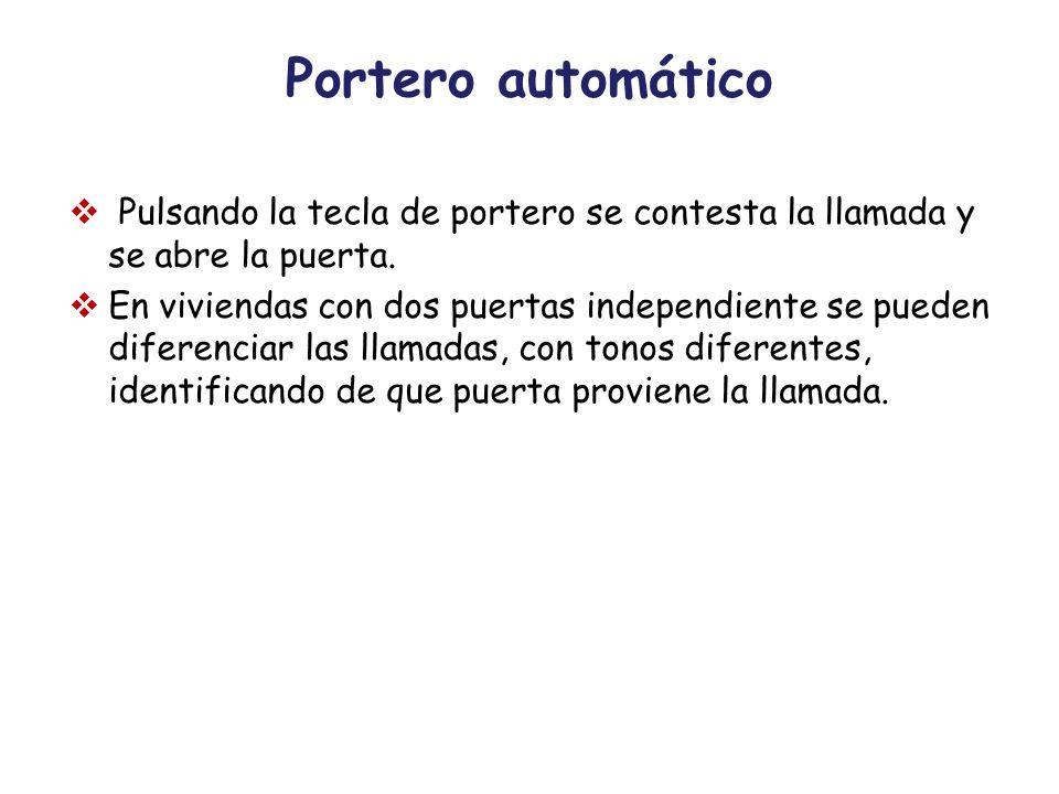 Portero automático Pulsando la tecla de portero se contesta la llamada y se abre la puerta. En viviendas con dos puertas independiente se pueden difer