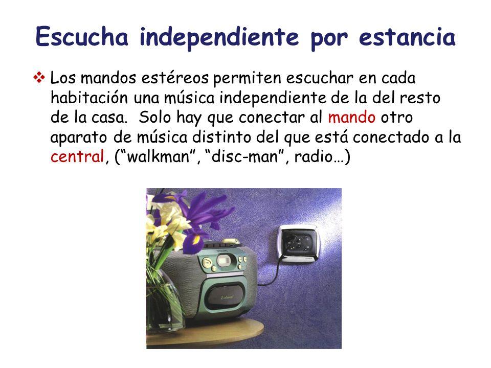 Escucha independiente por estancia Los mandos estéreos permiten escuchar en cada habitación una música independiente de la del resto de la casa. Solo