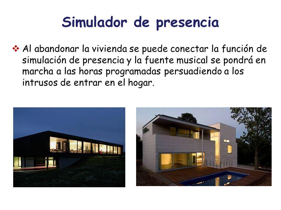Simulador de presencia Al abandonar la vivienda se puede conectar la función de simulación de presencia y la fuente musical se pondrá en marcha a las