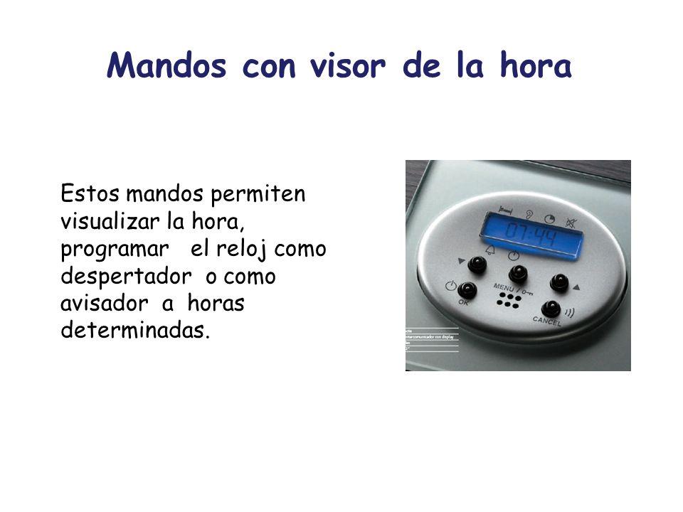 Mandos con visor de la hora Estos mandos permiten visualizar la hora, programar el reloj como despertador o como avisador a horas determinadas.