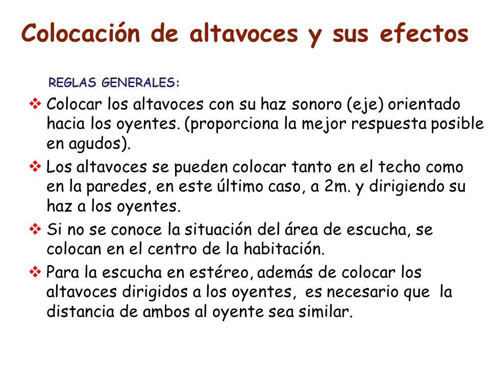 Colocación de altavoces y sus efectos REGLAS GENERALES: Colocar los altavoces con su haz sonoro (eje) orientado hacia los oyentes. (proporciona la mej