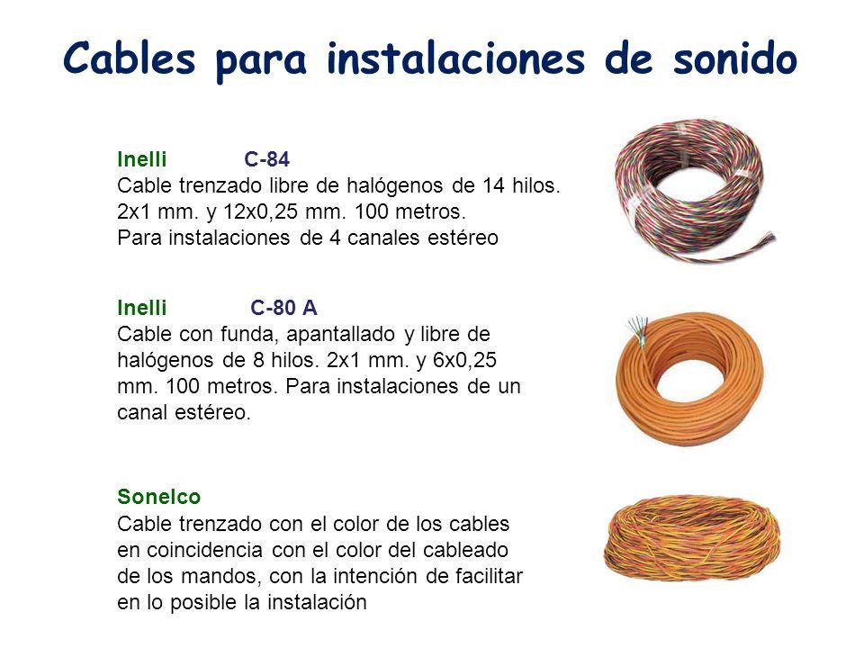 Inelli C-80 A Cable con funda, apantallado y libre de halógenos de 8 hilos. 2x1 mm. y 6x0,25 mm. 100 metros. Para instalaciones de un canal estéreo. I
