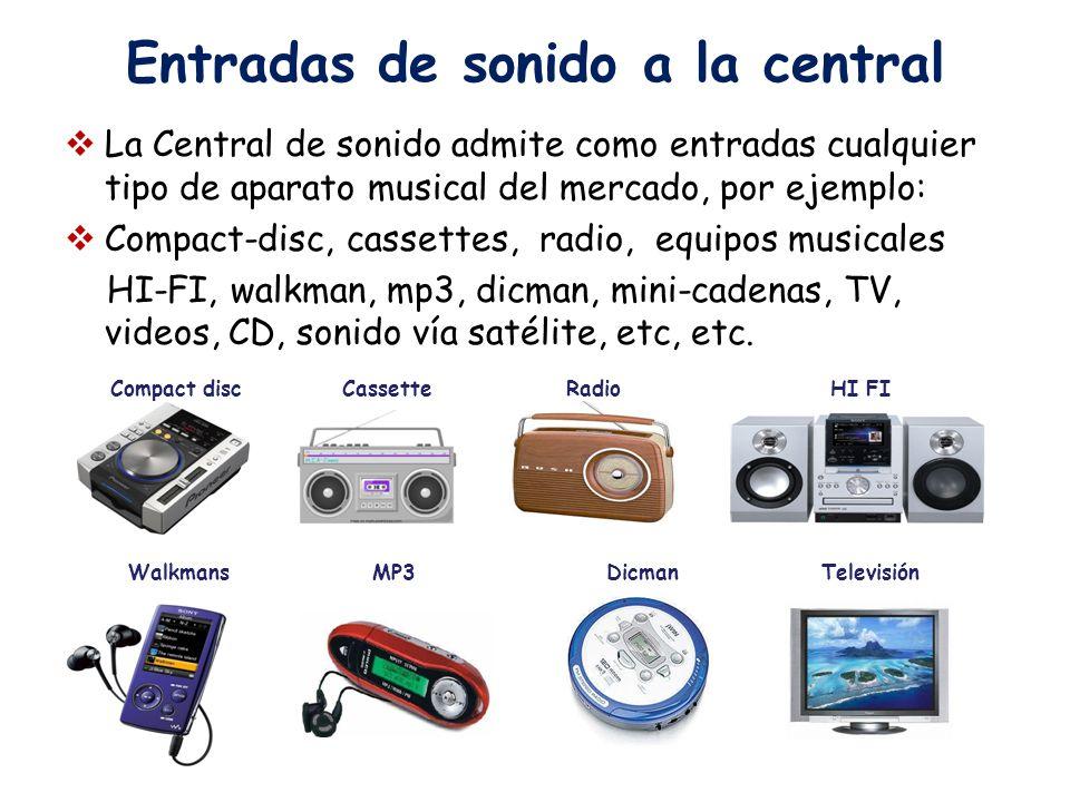 Entradas de sonido a la central La Central de sonido admite como entradas cualquier tipo de aparato musical del mercado, por ejemplo: Compact-disc, ca