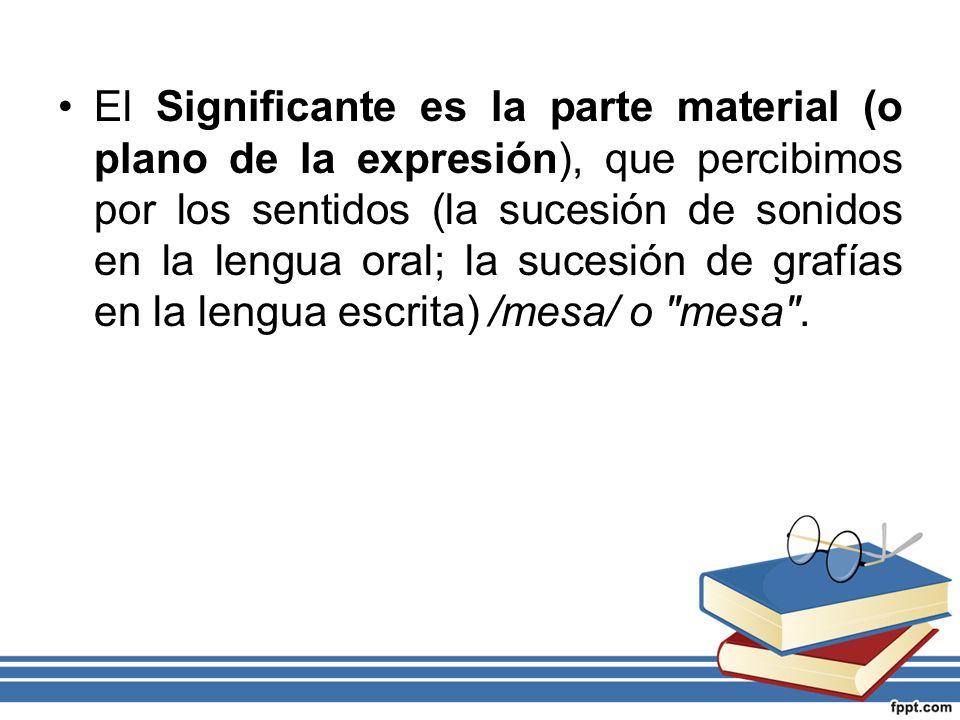 El Significante es la parte material (o plano de la expresión), que percibimos por los sentidos (la sucesión de sonidos en la lengua oral; la sucesión