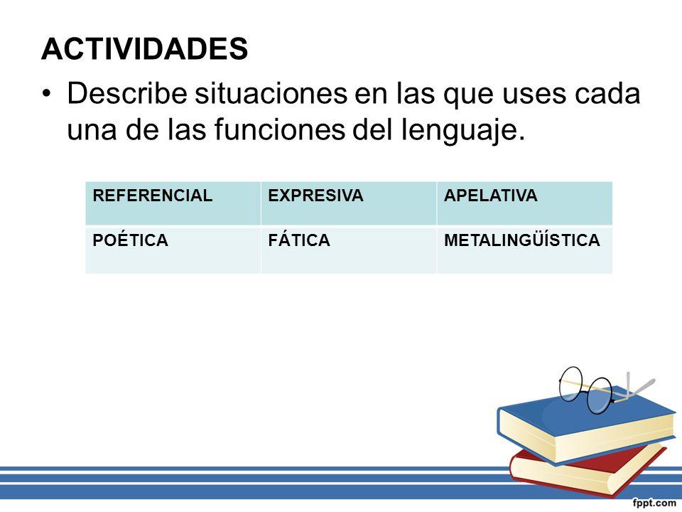 ACTIVIDADES Describe situaciones en las que uses cada una de las funciones del lenguaje. REFERENCIALEXPRESIVAAPELATIVA POÉTICAFÁTICAMETALINGÜÍSTICA