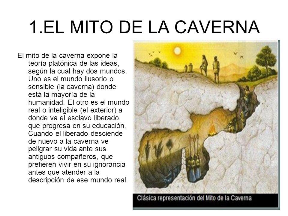 1.EL MITO DE LA CAVERNA El mito de la caverna expone la teoría platónica de las ideas, según la cual hay dos mundos. Uno es el mundo ilusorio o sensib