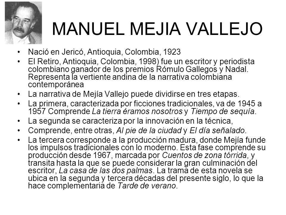 MANUEL MEJIA VALLEJO Nació en Jericó, Antioquia, Colombia, 1923 El Retiro, Antioquia, Colombia, 1998) fue un escritor y periodista colombiano ganador